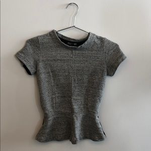 Gray & black peplum top